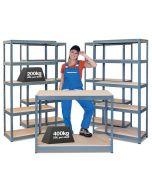 Business Bundle - 4x BRS Industrial Shelving Units & Workbench - Grey