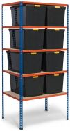 Storalex SX340 Shelving with DIY Recycled Plastic Storage Boxes - Clip Lids