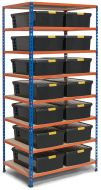 Storalex SX200 Shelving with DIY Recycled Plastic Storage Boxes - Clip Lids