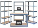 Business Bundle - 3x VRS Shelving Units - 280kg & Workbench - Grey