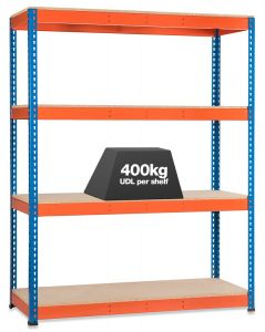 1x Storalex SX400 Industrial Shelving - 2440mm - 400kg Blue/Orange - Chipboard