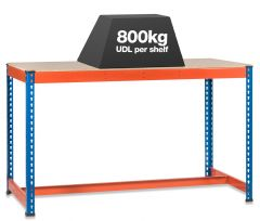 1x SX800 T-Bar Workbenches - 800kg - Blue/Orange - Chipboard