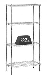 1x Eclipse Chrome Wire Shelving - 1625mm - 300kg