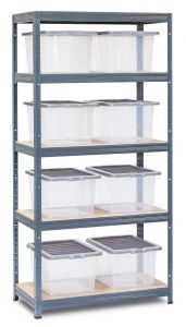 Storalex VRS Shelving - Grey with 37L Clear Wham Plastic Storage Boxes