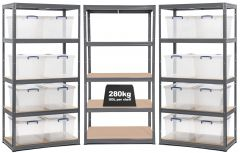 3x Storalex VRS Shelving - Grey with 33.5L Nestable Really Useful Boxes
