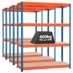 3x Storalex SX400 Industrial Shelving - 1980mm - 400kg Blue/Orange - Chipboard