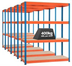 4x Storalex SX400 Industrial Shelving - 1980mm - 400kg Blue/Orange - Chipboard