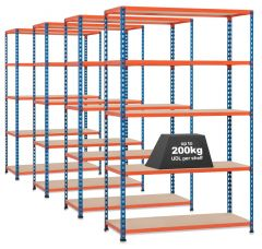 4x Storalex SX200 Industrial Shelving -1830mm - 200kg Blue/Orange - Chipboard