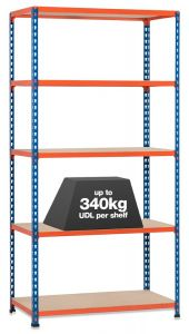1x Storalex SX340 Industrial Shelving - 1980mm - 340kg - Blue/Orange - Chipboard