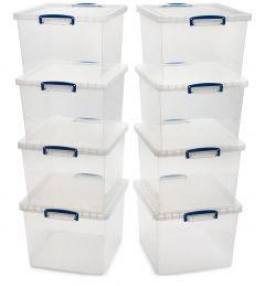 8 & 12x 33.5L Nestable Really Useful Boxes - 460L x 383W x 285D - Clear A