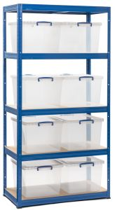 Storalex VRS Shelving - Blue with Nestable Really Useful Boxes