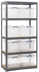 Storalex VRS Shelving - Grey with Nestable Really Useful Boxes