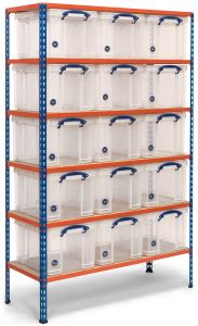 Storalex SX200 Shelving- 140kg- with 15x 35L Clear Really Useful Boxes