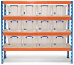 Storalex SX400 Industrial Shelving - 400kg - with 12x 35L Clear Really Useful Boxes