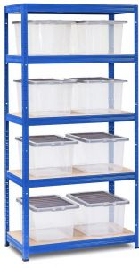 Storalex VRS Shelving - Blue with Clear 37L Wham Plastic Storage Boxes