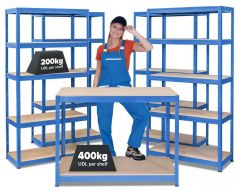 Business Bundle - 4x VRS Industrial Shelving Units & HRX Workbench - Blue