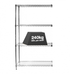 1x Eclipse Chrome Wire Shelving - 2130mm - 240kg