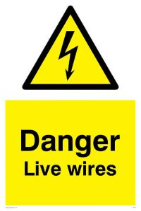 Danger Live Wires - Warning Sign