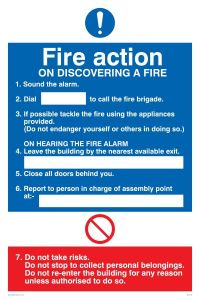 Fire Action Notice - Mandatory Sign