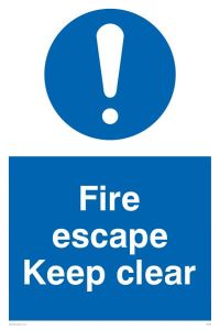 Fire Escape Keep Clear - Mandatory Sign