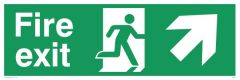 Fire Exit Diagonal Up Right - Emergency/Exit Sign