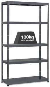 1x MT130 Metal Industrial Shelving - 130kg - Grey