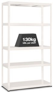 1x MT130 Metal Industrial Shelving - 130kg - White A