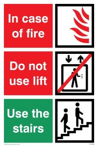 In Case of Fire/Use Stairs - Mandatory Sign