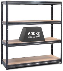 1x Storalex HRX Super Heavy Duty Industrial Shelving - 600kg - Grey A