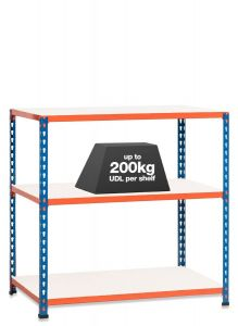 1x SX200 Workbenches - 915mm - 200kg Blue/Orange - Melamine