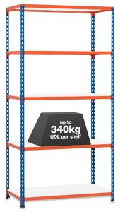 1x Storalex SX340 Industrial Shelving - 1980mm - 340kg - Blue/Orange - Melamine