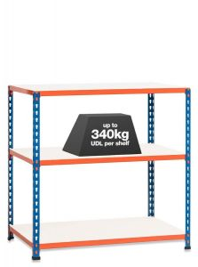 1x SX340 Workbenches - 915mm - 340kg Blue/Orange - Melamine