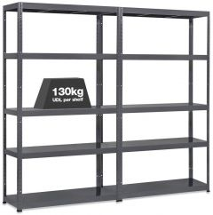 2x MT130 Metal Industrial Shelving - 130kg - Grey