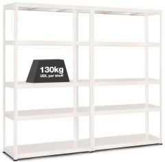 2x MT130 Metal Industrial Shelving - 130kg - White