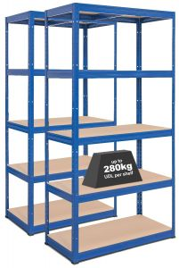 2x Storalex® VRS Heavy Duty Industrial Shelving - 280kg - Blue