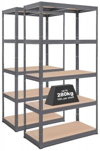 2x Storalex VRS Heavy Duty Garage Shelving - 280kg- Grey