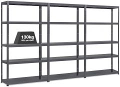 3x MT130 Metal Industrial Shelving - 130kg - Grey