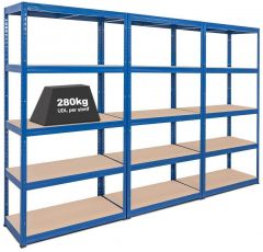 3x Storalex VRS Heavy Duty Shelving Bays - 280kg - Upgrade Offer - Blue