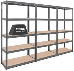 3x Storalex VRS Heavy Duty Shelving Units - 280kg - Upgrade Offer - Grey