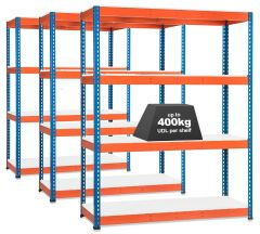 3x Storalex SX400 Industrial Shelving - 1980mm - 400kg Blue/Orange - Melamine