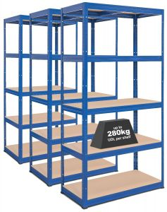 3x Storalex VRS Heavy Duty Garage Shelving - 280kg - Blue