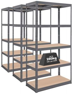 3x Storalex® VRS Heavy Duty Industrial Shelving - 280kg - Grey