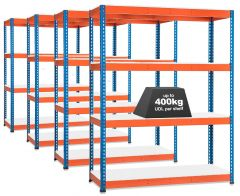4x Storalex SX400 Industrial Shelving - 1980mm - 400kg Blue/Orange - Melamine