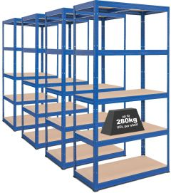 4x Storalex® VRS Heavy Duty Industrial Shelving - 280kg - Blue