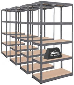 4x Storalex® VRS Heavy Duty Industrial Shelving - 280kg - Grey