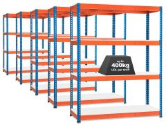5x Storalex SX400 Industrial Shelving - 1980mm - 400kg Blue/Orange - Melamine