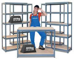 Business Bundle - 4x BRS Industrial Shelving Units & Workbench - Grey A