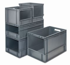 Open Front Euro Containers - Grey (5 Sizes)