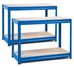 2x Storalex HRX Workbench - Chipboard - 600kg - Blue A