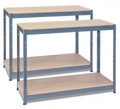2x Storalex CRW Workbenches - Chipboard - 400kg - Grey A
